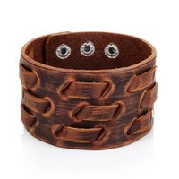 Fashion Genuine Leather Bracelet for Men Brown Wide Cuff Bracelets & Bangle Wristband Vintage Punk Male Jewelry Gift