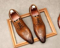 Dress Shoes Mens Fashion loafers Oxford party Wedding Genuine Leather Laser pattern pointed Toe Lace-Up Formal Business Casual Shoe Flats British style