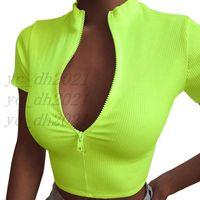 여성 자르기 탑스 섹시한 지퍼 반팔 티셔츠 숙녀 V 넥 탑스 여름 패션 여성 셔츠 여자 캐주얼 티셔츠, 무료 배송
