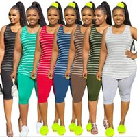 Women's Tracksuits SHZQ Colorful Printing Women Casual Two Piece Sets 2021 Summer Est High Waist Skinny Sport Pants + Sleeveless Vest Out