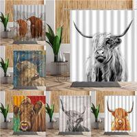 Shower Curtains Highland Cow Animal Set Wild Cattle Bathroom Bath Decors Waterproof Fabric Nordic Wall Decor Curtain Accessories