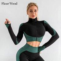 Women's Jackets FLEUR WOOD Sports Jacket Zipper Short Coat Women Running Fitness Athletic Colorblock Long Sleeve Woman Finger