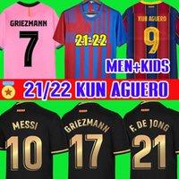 Kun Aguero Barcelona Soccer Jersey CamiSetas de Футбольные Рубашки Месси Барка 20 21 2 22 Ansu Fati 2021 2022 Griezmann F.de Jong Counginho Джемкости Джьи + Детские наборы Устанавливает носки
