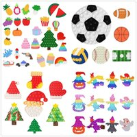 Fidget Toys Christmas Tree Shape Push It Bubble Sensory Autism Special Needs Stress Reliever Squeeze Sensory Decompression Toys for Kids Family DHL