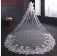 2021 Light Ivory White Lace Appliques Elegant Wedding Accessories Long Bridal Veil with Comb Vestido De Noiva Hhyd