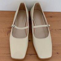 Женская Натуральная Кожа Металлическая Пряжка Мэри Джейн Квартиры Квадратный Носок Студенческий Стиль Случайные Ежедневные Женские Мягкие Удобные Обувь Обувь Shoedress Обувь