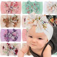Girls Hair Accessories Baby Headbands Flower Childrens Print Bow Hairband Nylon Kids Head Bands Bowknot Cute B6391