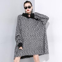 Women's Hoodies & Sweatshirts LANMREM Splice Hit Color Turtleneck Pullover Sweatshirt Women Personality Large Size Loose Clothing Tops 2021