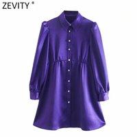 ZEVITY Kadınlar Vintage Elmas Düğmeler Katı Yumuşak Mini Elbise Femme Pleats Puf Kol Casual Bir Çizgi Vestido Gömlek Elbiseler DS4822
