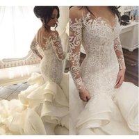 Saudi Arabic Lace Mermaid Wedding Dresses With Full Sleeves 2020 Bridal Gowns Dubai Royal Train Button Ruffles Robe De Mariee