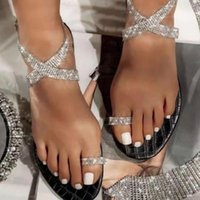 Sandals 2021 Summer Women's Flat Bottom Bling Clip Finger Heel Fashion Soft Anti Slip Womans Shoes