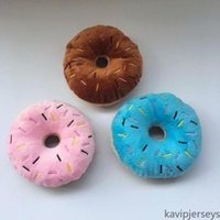 Pet Cotton Donut Play Toys Lovely Small Dog Puppy Cat Tugging Chew Squeaker Quack Sound Toy Dogs Chewing