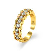 Women Diamond Row Ring Band Finger Gold Open Adjustable Cluster Rings Tail engagement wedding Fashion jewelry