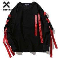 11 bybb's escuro ss fitas hoodies streetwear homens camisolas punk rock manga comprida streetwear hoodie tops harajuku hoodie 201114