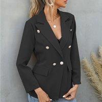 여성 재킷 봄 가을 여성 드롭 어깨 버튼 커프 칼라 섬세한 정장 2021 우아한 패션 여성 턴 다운 코트