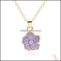 Pendant & Pendants Jewelrypendant Necklaces 30 Color Sun Flower Plant Lotus Charm Necklace Tiny Buddha Lotos Petal Chain Lady Women Gift Jew