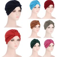 Moda Bandanalar Kadınlar Türban Gece Uyku Şapkalar Hindistan Başörtüsü Bonnet Kap Yetişkin Kemo Şapka Düğüm Saç Gevşek Bakım Bantlar Müslüman Kapaklar
