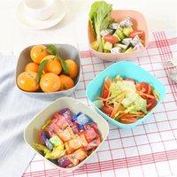 Plástico quadrado de frutas de frutas salada bacia de comida de festa de melão placa de frutas pequenos prato de doce prato secado