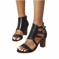 Mujer Sandalias 2020 Verano Abrir Toe Block Heel Sandal Belde Hebilla Bohemian Beach Zapatos Ocio Zipper 35-43 Zapatos de Mujer 3.9 P1on #