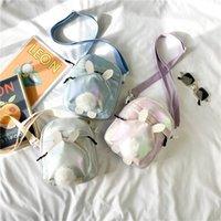 새로운 패션 어린이 귀여운 만화 작은 사각형 가방 아이 토끼 귀 Pompon 제로 지갑 지갑 소녀 한 어깨 메신저 가방 C6946