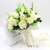 Buquê de casamento rosa natural artificial com fita de seda rosa branco champanhe dama de honra nobreza 28 * 23cm