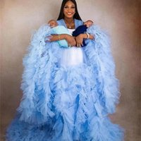 Sky Blue Pregnant Women's Prom Dress Maternity Ruffles Robes for Photo Shoot or baby shower Tulle Pleat V Neck Plus Size Robe