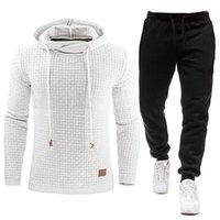 Tracksuit Men Brand Male Solid Hooded Sweatshirt+Pants Set Mens Hoodie Sweat Suit Casual Sportswear S-5XL Free 11