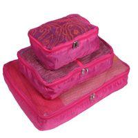 Storage Bags 3pcs Fabric Mesh Luggage Packing Women Makeup Organizer Necessary Beauty Case Toiletry Bag Bath Wash Make Up Box