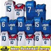 2021 США Токио Летние Олимпийские игры Девин 15 Букер Дамиан 6 Лиллард Кевин 7 Дюрант Джайсон 10 Татум Темно-Синий Белый Баскетбол Джерси Команда Америка Контрастные Цветовые Джерси