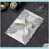 Greeting Event Home & Gardengreeting Cards Laser Cut Wedding Invitations Gold Sier Glitter Paper Blank Sheet Festive Party Supplies 10Pcs Lo