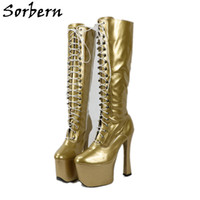 SORBERN UNISEX MID-bezerro 20cm super alto salto alto + 9cm botas de plataforma Mulheres sexy fetiche estiletes de couro de patente de couro cruzado