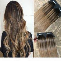 Ombre Renk # 2 Koyu Kahverengi # 6 # 6 Balayage Cilt Atkı İnsan Saç Uzantıları Bant Ekstansiyonda Slik Düz 40 ADET Bant Saç