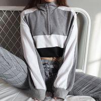 Feitong women sweatshirts Autumn Women Long-Sleeve Pullover Sweatshirt Blouse Zipper Crop Tops Patchwork Shirt
