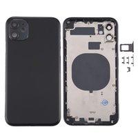 ل iPhone 11 الخلفي الإسكان غطاء مع بطاقة SIM صينية مفاتيح الجانب الكاميرا عدسة الكاميرا، وإكسسوارات أجزاء إصلاح آيفون
