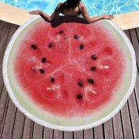 Watermon orange microfibre ronde serviette de plage fruit épais douche baignoire serviettes de bain d'été piscine tassels 500g DWB8341