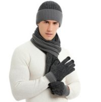 New winter knitted scarf warm wool, hats, scarves, gloves, three pieces
