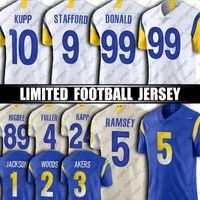 "99 Aaron Donald Jalen Ramsey Jersey 25 Sony Michel Matthew Stafford Cooper Kupp DeSean Jackson Football Jerseys Los Angeles ""Rams"" 2 Taylor Rapp Robert Woods"
