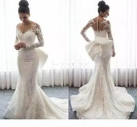 2019 Sheer Neck Charming Lace Mermaid Wedding Dresses With Bow Long Sleeves Appliques Saudi Arabic Gowns Wedding Bridal Dresses Free Shippin
