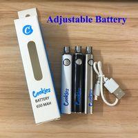 510 cookies bateria Dabwoods carrinhos VV pré-aquecimento de vapes cartucho bateria 650mAh vape penas bateria ajustável variável de tensão 3.4-4.0v com cabo USB