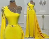 2021 Plus Size Arabic Aso Ebi Yellow Beaded Crystals Prom Dresses Sheer Neck Sheath Sexy Evening Formal Party Second Reception Bridesmaid Gowns Dress ZJ220