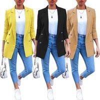 Artı Boyutu Sonbahar Moda Ofis Bayan Katı Renk Blazer Uzun Kollu Suit Ceket Erkek Arkadaşı Blazers