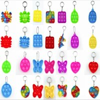 Tie-dye Simple Dimple Push Fidget Key chain Sensory Kid Fidget Toys Stress Bubble Key Ring Push Bubble Board Finger Pendant 2021 DHL Shipping