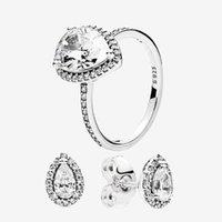 Аутентичные 925 серебряные калевые кольца и серьги наборы оригинальные коробки для Pandora CZ Diamond Womans Wedding ювелирные изделия слезы капли кольца серьги