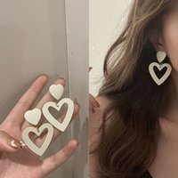 Milk White Color Big Hollow Heart Earrings for Women Korean Exaggerated Double Love Heart Girl Couple Gifts Sweet