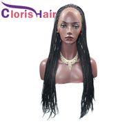 Uzun Kutu El Örgülü Sentetik Dantel Ön Peruk Isıya Dayanıklı Tığ Büküm Örgü Saç Siyah Kadınlar Için Cosplay Sentetik Frontal Peruk