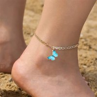 Sandy Beach Anklets Chain Butterfly Pendants Ankle Bracelet Copper Inlaid Diamond Foot Ornament Student 3 5ll Y2