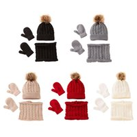Clothing Sets Winter Warm Baby Solid Color Hat Gloves Scarf Set Fur Ball Beanies Mitten Scarves Kit For Toddler Girls Boys G99C