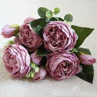الحرير الفاوانيا روز الزهور الاصطناعية باقة وهمية الزفاف المنزل حزب ديكور الدعائم أكاليل الزخرفية