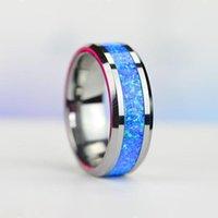 Alyans I FDLK Lüks Mavi Yangın Opal Paslanmaz Çelik Asla Fade Nişan Yüzüğü Erkek Takı