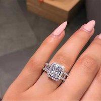 İkonik Allure Promise Ring 925 Ayar Gümüş Baget Elmas Nişan Düğün Band Yüzük Kadınlar Takı 17 R2